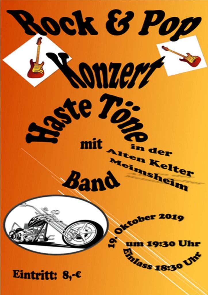 Rock- und Pop-Konzert - Haste Töne @ Alte Kelter Meimsheim